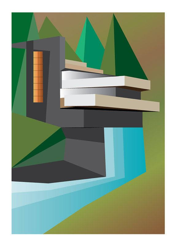 Fallingwater Architecture Illustration Of Frank By Deltanova