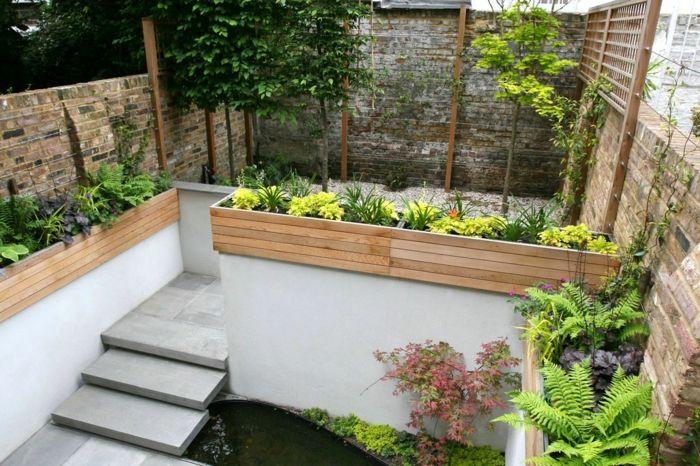 Gartenbeete gestalten DIY Beete aus Bretten voller gelben Blumen - garten pflegeleicht modern
