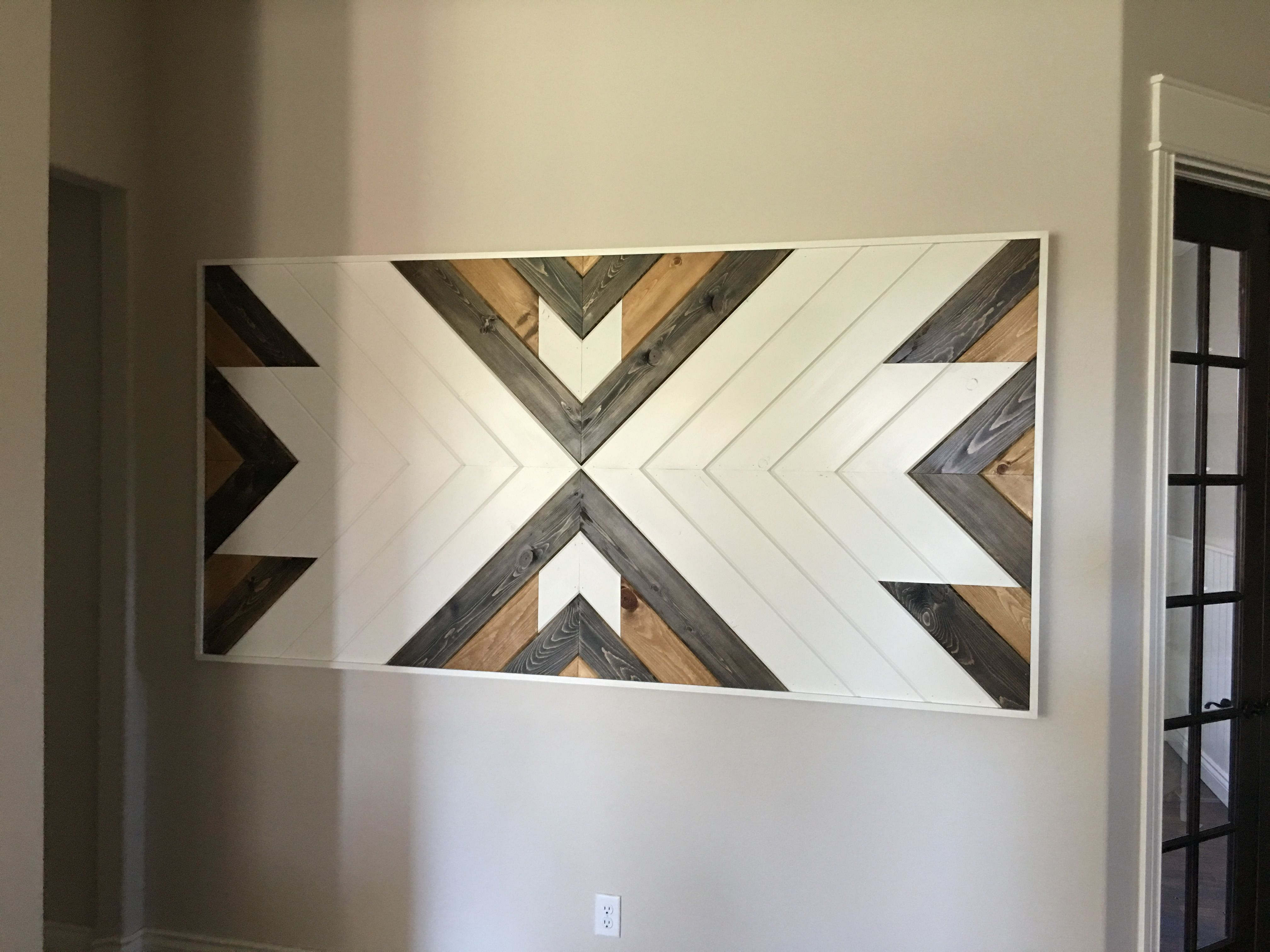 Chevron wall art made from v groove wood fun in