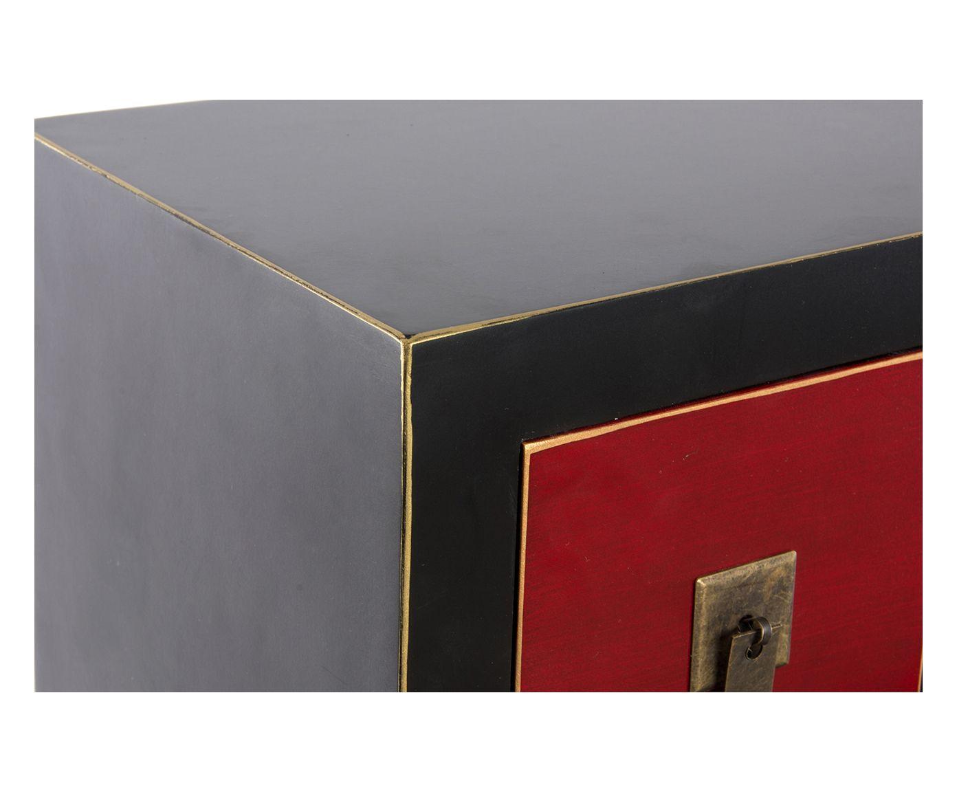 Cassettiera a 15 cassetti in mdf Tokyo nero e rosso, 63x104x26 cm | Dalani Home…