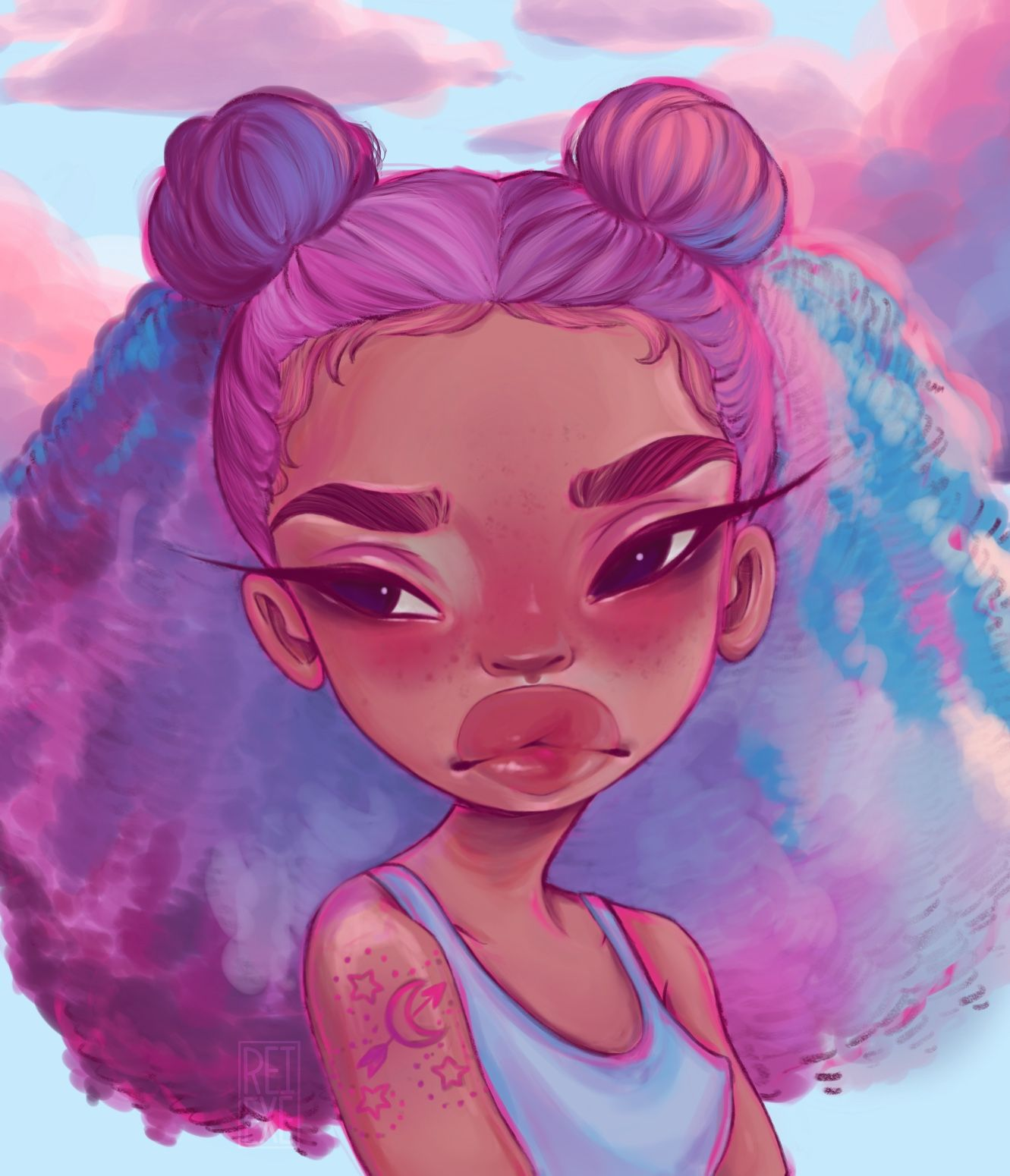 Liya 11x14 Art Print in 2020 Cartoon art, Anime art girl