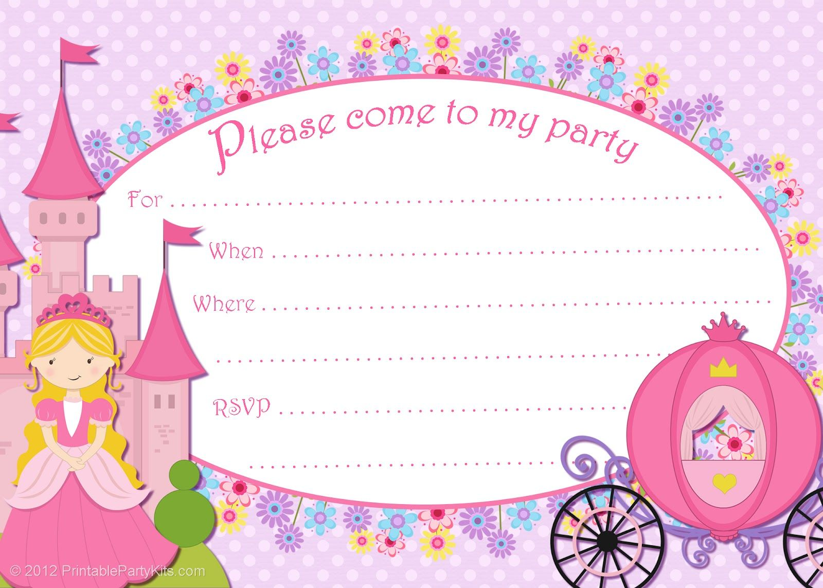 Free Printable Purple And Pink Cinderella Party Invitation Party - Princess birthday invitation templates free