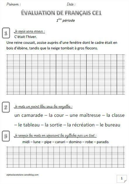 Evaluation de français CE1 (période 1) - Les alphas de LaCatalane   Ce1, Français ce1 et ...