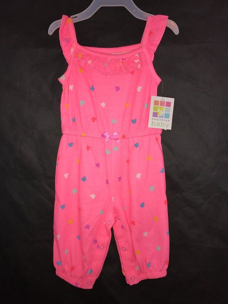 """NEW /""""HEALTHTEX/""""  BABY GIRL SLEEVELESS TWO PIECE SHORT SET SIZE 6-9 MO GREEN//PINK"""