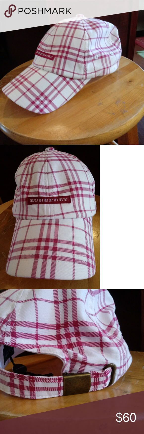 9617e786513 Burberry Red White Plaid Golf Cap Burberry Red White Plaid ⛳ Golf Cap. One  Size. Excellent used condition. No stains or tears. Adjustable in the back.