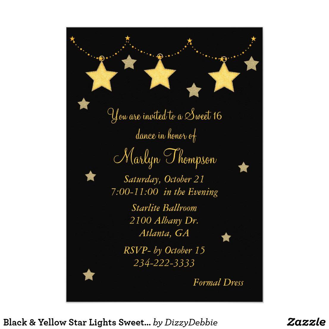 Black & Yellow Star Lights Sweet 16 Invitation Pretty yellow and ...