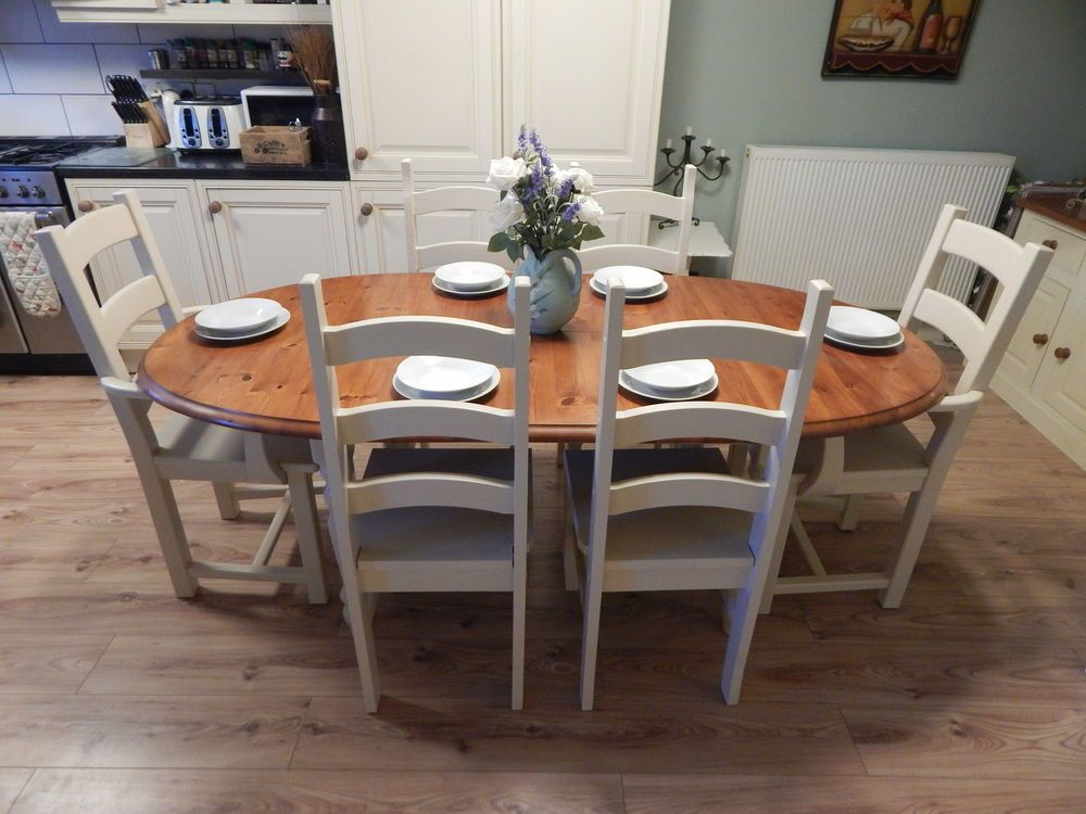 Gorgeous large solid pine extending table & 6 ladderback chairs