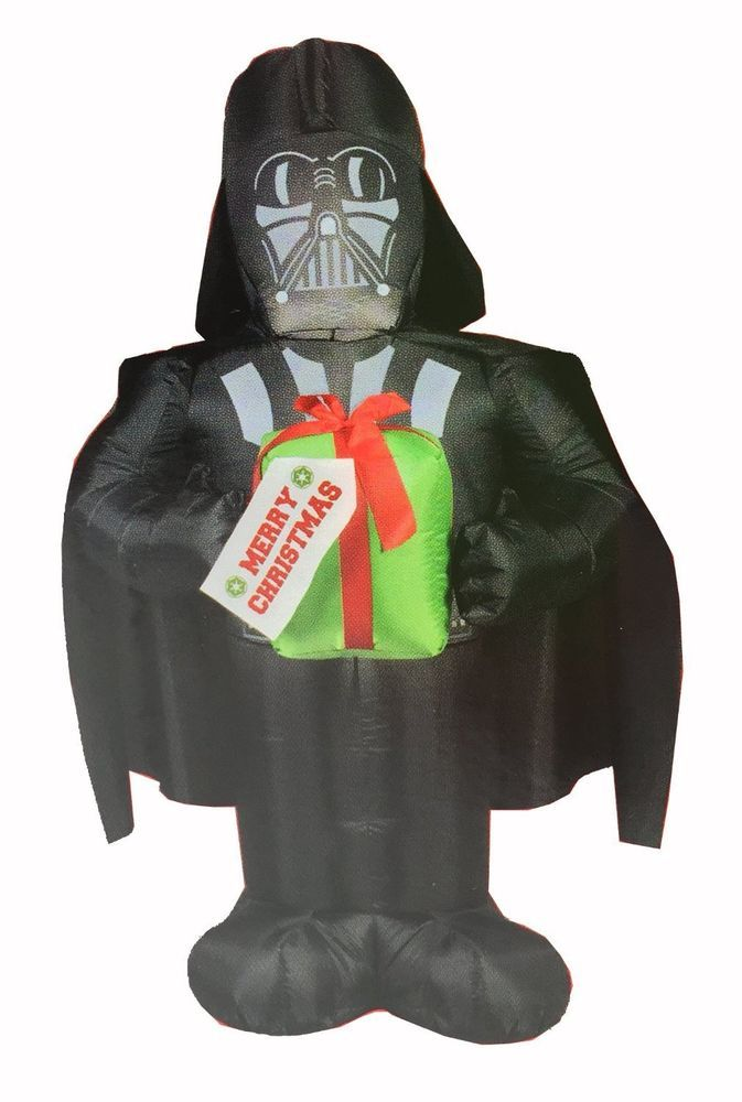 Star Wars 5\u0027 LED Christmas Darth Vader Holding Gift Airblown - inflatable outdoor christmas decorations
