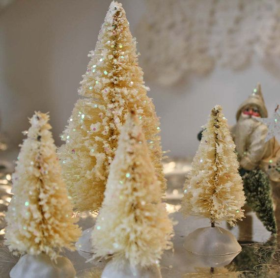 Bottlebrush Christmas Tree Set 4 Ivory White Glitter Bottle Bottle Brush Christmas Trees Bottle Brush Trees Glitter Christmas
