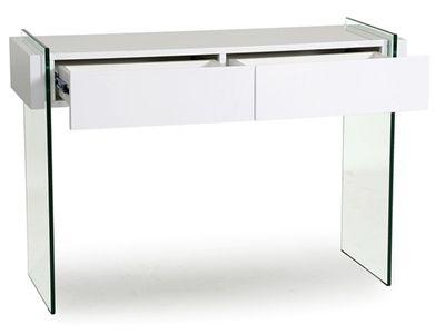 console 2 tiroirs en blanc laqu et verre tremp spekia design moderne. Black Bedroom Furniture Sets. Home Design Ideas