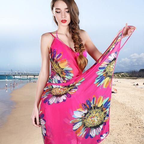 fa32ad2912e60 New Fashion Women Sexy Summer Bikini Chiffon Wrap Floral Print Pareo Boho Dress  Sarong Beach Bikini Swimwear Cover Up Scarf - On Trends Avenue