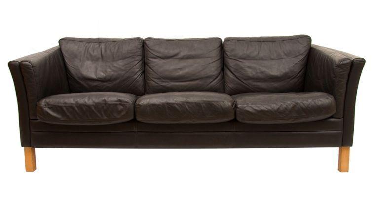 Black Leather 3 Seater Sofa By Mogens Hansen 1970s