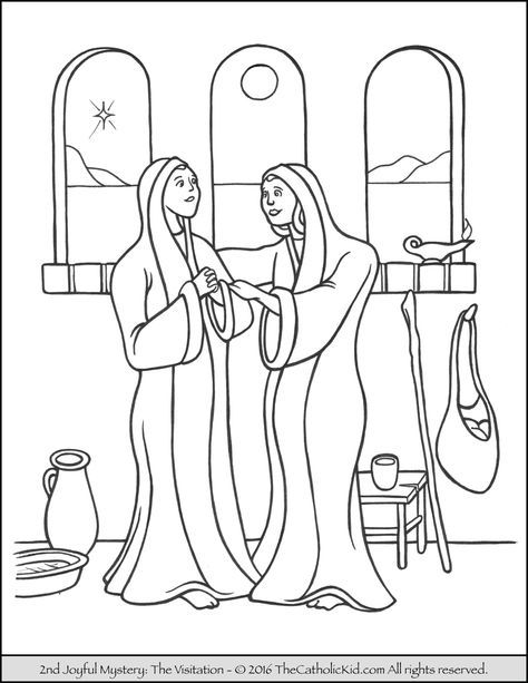 The 2nd Joyful Mystery Coloring Page Visitation Catholic Coloring Bible Coloring Pages Coloring Pages