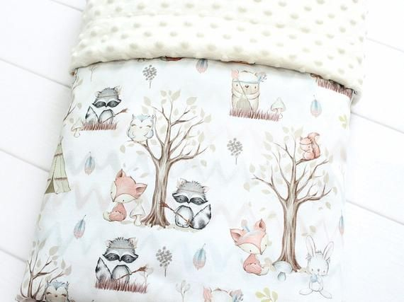 Personalized Baby Blanket Girl TeePee Woodland Blanket Cute Forest Animals
