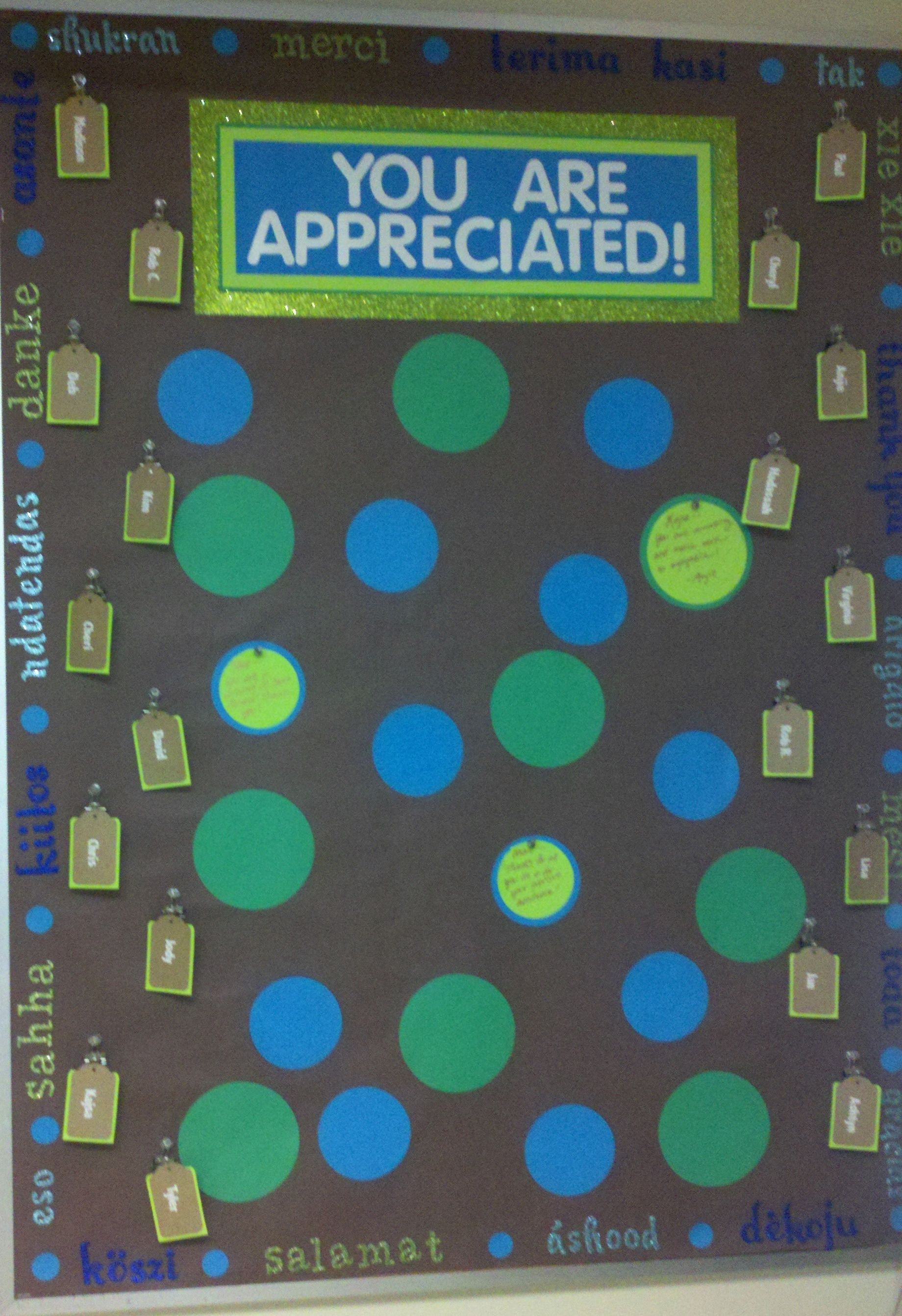 Employee Appreciation Board! Around the edges are \