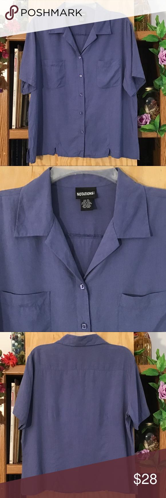 Vintage Blue 100/% Silk Blouse  Size M L