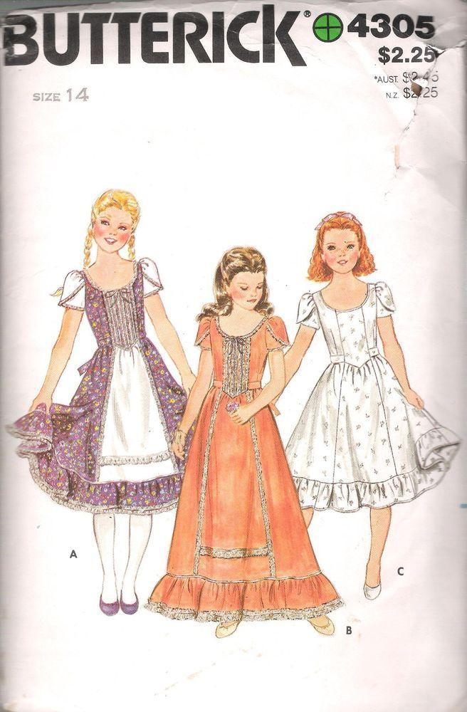 GIRLS 1 PC Dress VINTAGE SEWING PATTERN 4305 Butterick SZ 14 BUST 32 ...