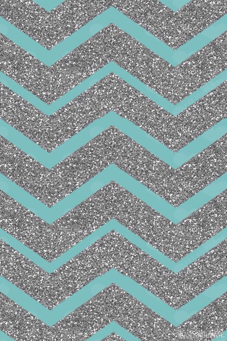 Teal and sparkly silver chevron Iphone Wallpapers Pinterest