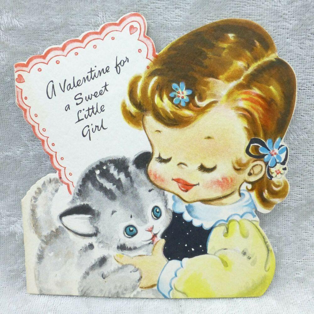 Details about vintage hallmark valentine card little girl