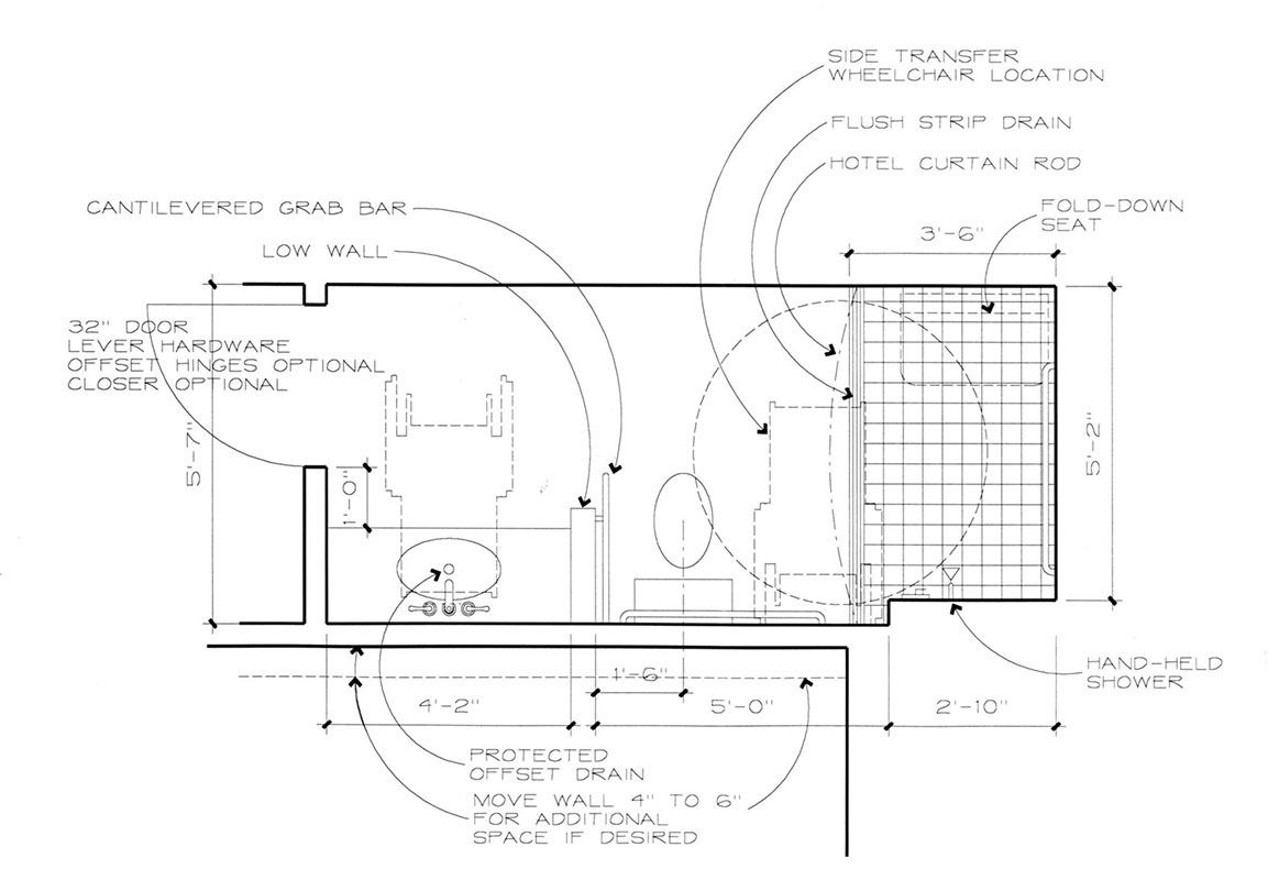 Residential handicap bathroom layouts re help to modify for Bathroom for disabled plan