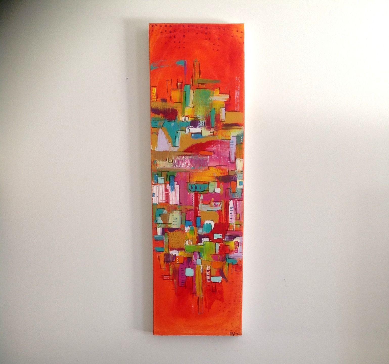 """Célèbre L'architecte"""" art abstrait à l'acrylique - technique mixte  EE55"""