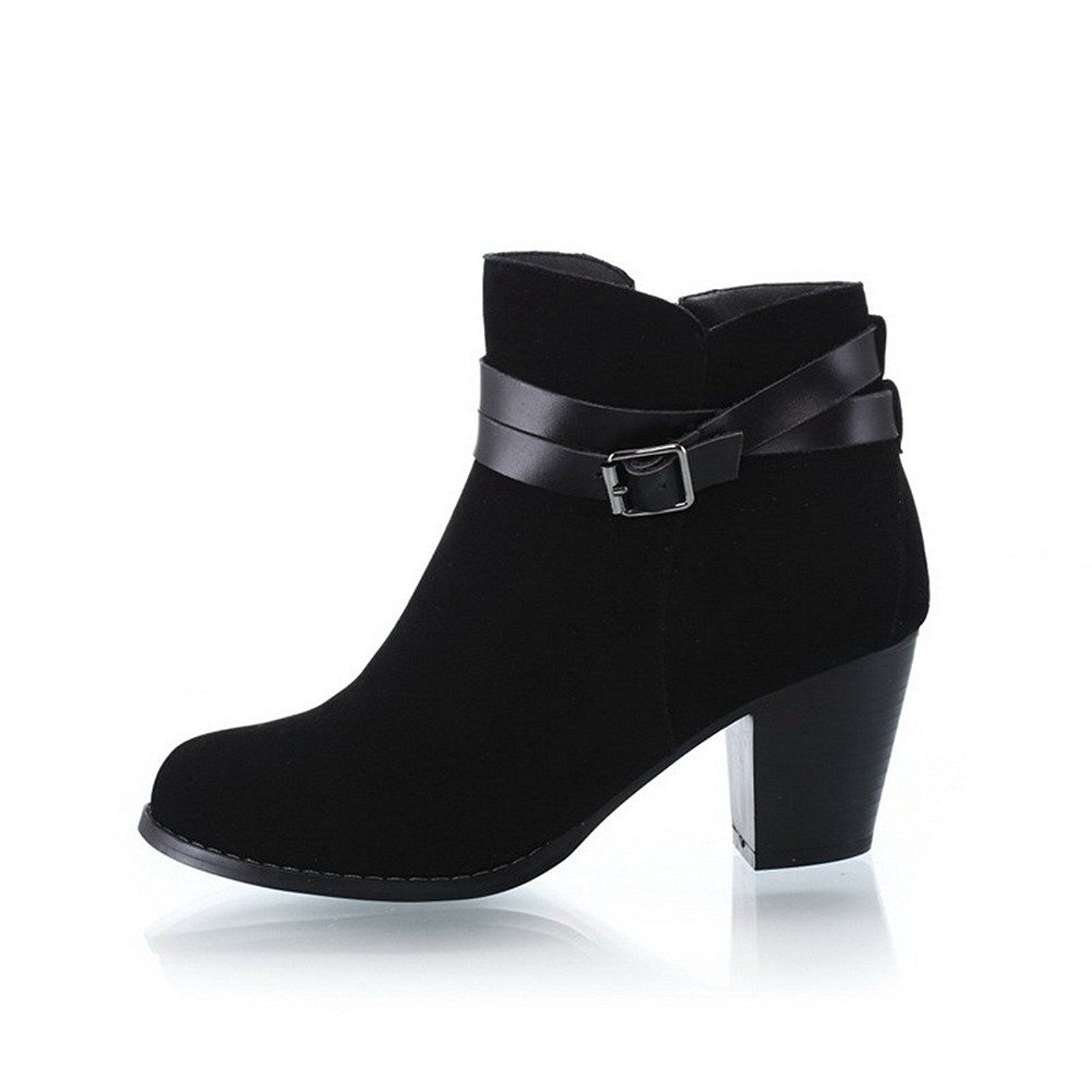 Ladies Buckle Kitten-Heels Round Toe Frosted Boots