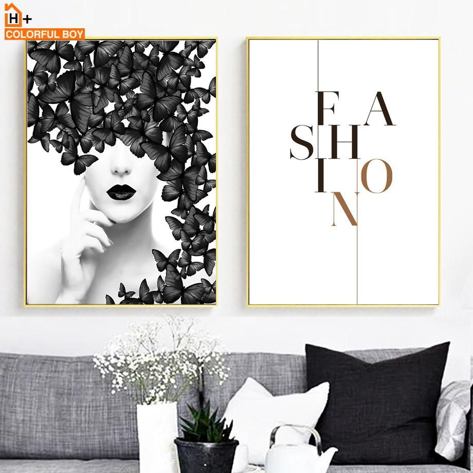 Colorfulboy wall art canvas painting black white fashion girl butterfly pop art posters and prints wall