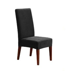 Sure Fit Soft Suede Shorty Dining Room Chair Slipcover Sure Fit Stretch Pique Short Dining Chair Slipcover  Home