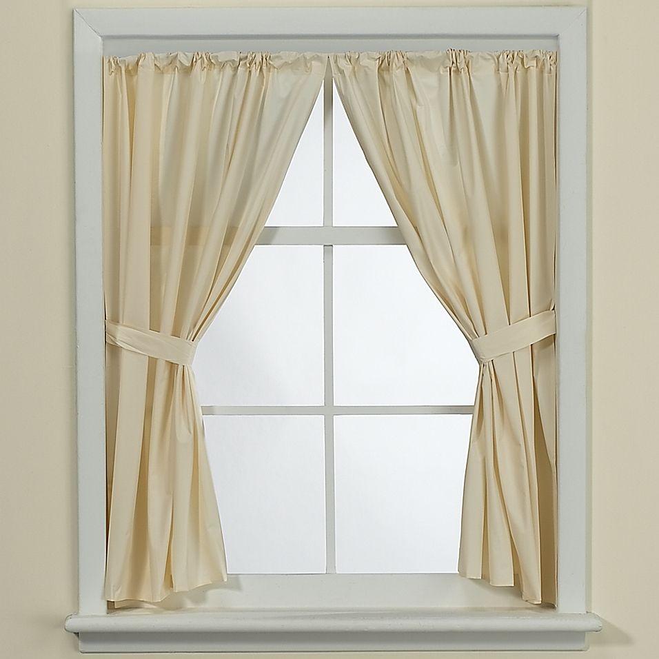 Bone Vinyl Bath Window Curtain Panel Pair Window Curtains