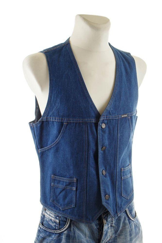 Vintage orig 70er Wrangler Jeans Weste 70s Denim Vest Disco 56 ...