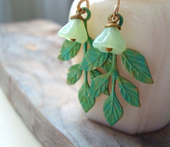 Sale Green Patina Leaf Earrings Hand Painted Flower Jewelry Spring Jewelry Mothers Day Bridesmaid Earrings Dangle Spring Jewelry Leaf Earrings Flower Jewellery