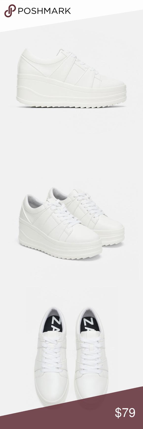 Zara white wedge sneakers   White wedge