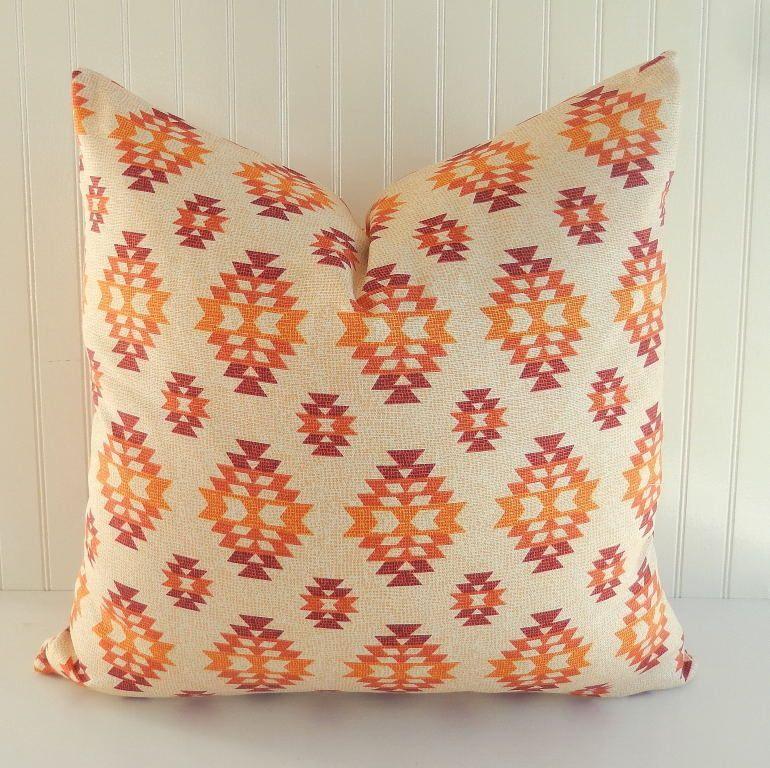 Southwestern Pillow COVER 18 x 18 Throw Pillow Zipper Closure Orange Rust Tan #Handmade & Southwestern Pillow COVER 18 x 18 Throw Pillow Zipper Closure ... pillowsntoast.com