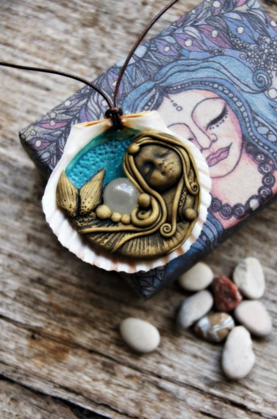 Mermaid Pendant Necklace with Sea Shell Handcrafted Free Shipping