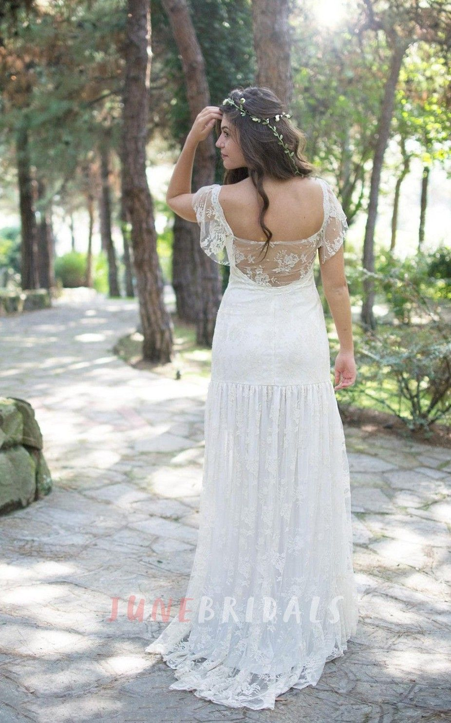 Lace hippie wedding dress  Square Cap Sheath Lace Wedding Dress With Pleats And Illusion Back