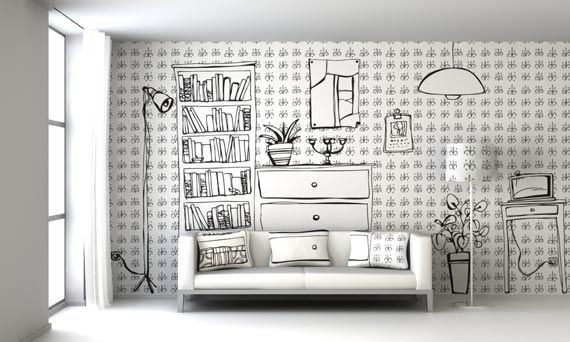 drawing theme living room wall painting ideas | gorgeous living