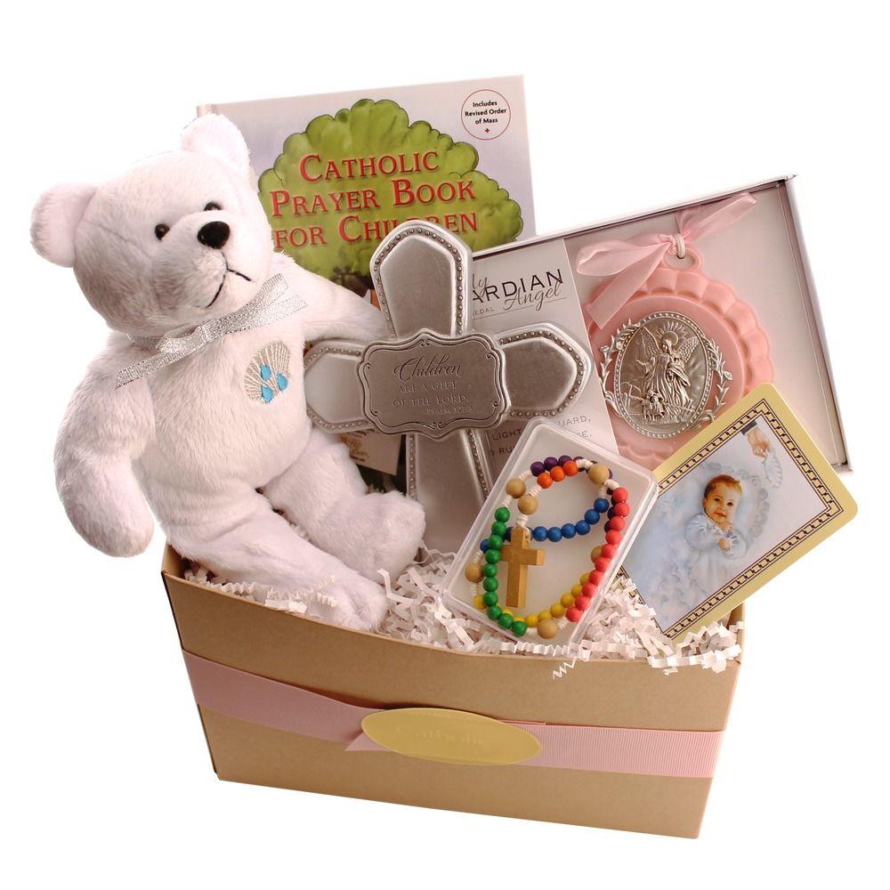 Catholic Baptism Gift Basket for Baby Girl, $59.95.