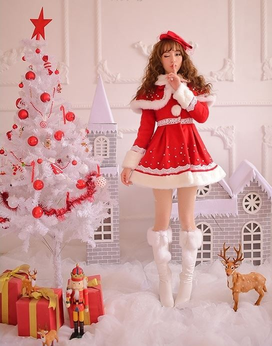 Sweet Lolita Fashion Christmas Red Winter Warm Woolen Cloth Coat is part of Clothes Winter Red -