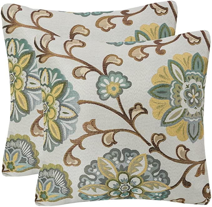 Amazon.com: YUKORE Pack of 2 Simpledecor Throw Pillow Covers Decorative Pillow Cases, 20X20 Inches, Jacquard Floral Pattern, Teal Brown Cream: Home & Kitchen