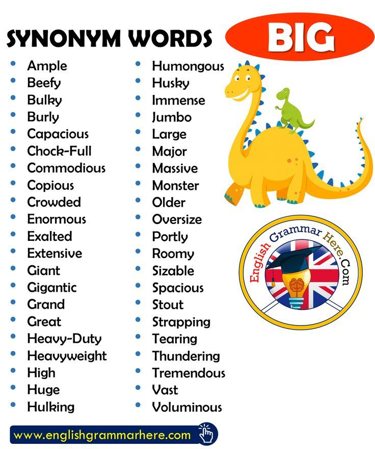 Synonym Words - BIG, English Vocabulary in 2020 | English ...