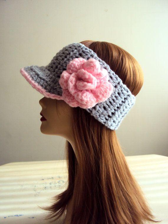 Items similar to Visor Headband Crochet Flower Head Band  Head Band Earwarmer Women Hair Accessories Gift Ideas on Etsy