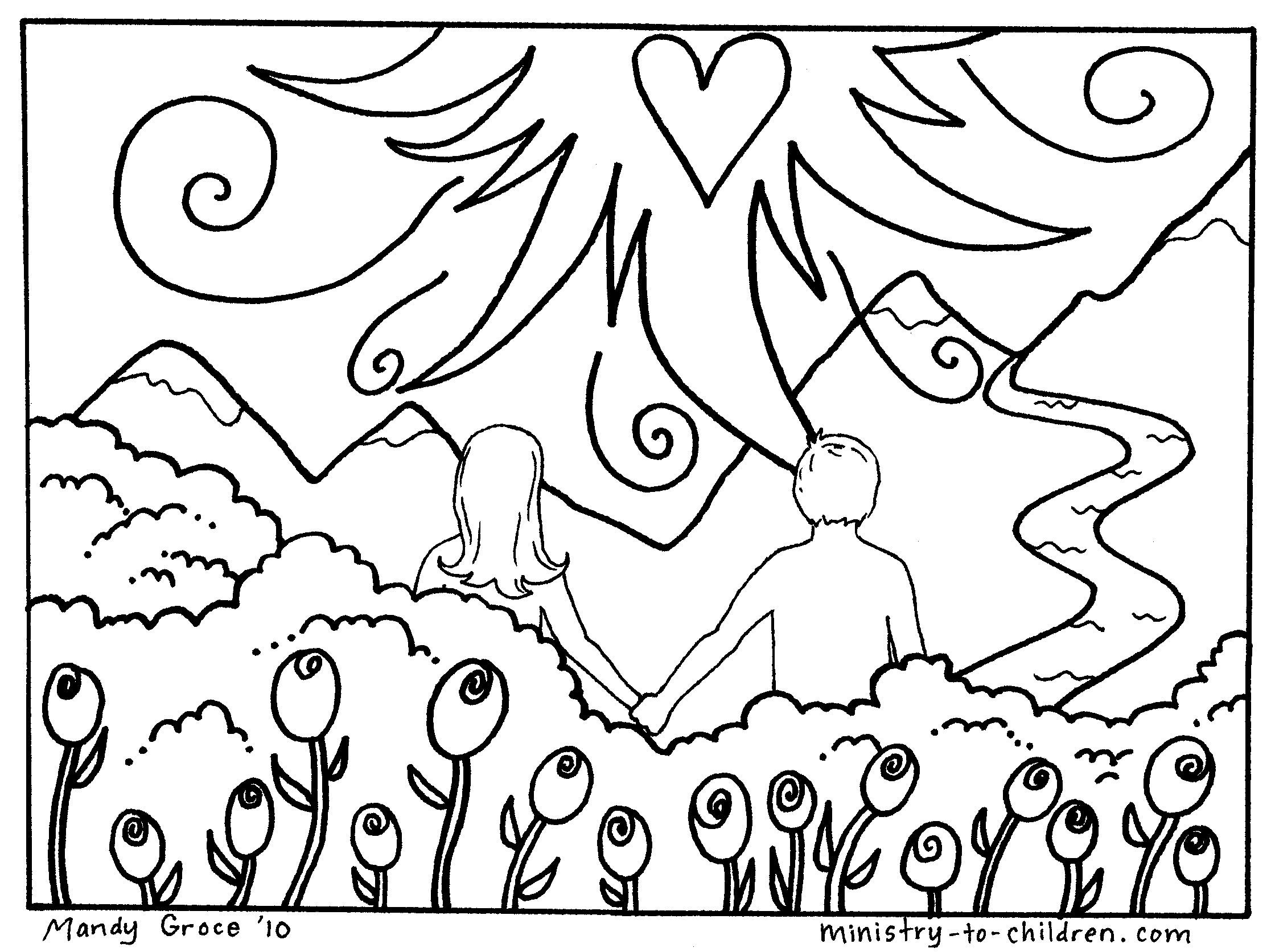 Adam and eve garden of eden free printable coloring page for Garden of eden coloring page