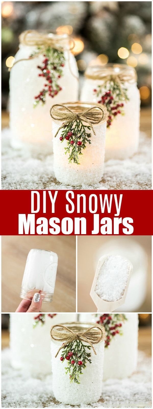 Diy snowy mason jars christmas decorations pinterest christmas