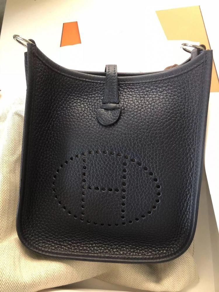74d07073e1c1 Auth New HERMES Evelyne TPM Mini Clemence Leather Cross Body Bag Dark Blue   Hermeshandbags