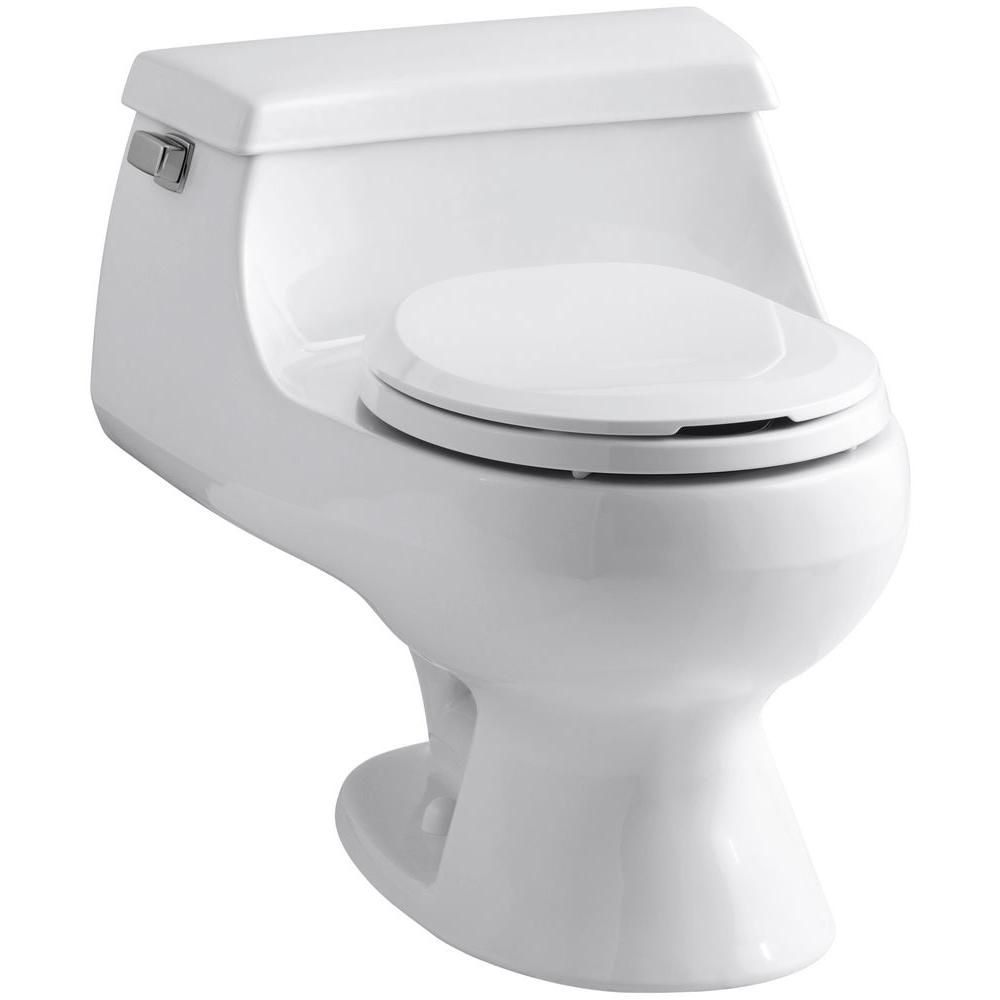 Kohler Rialto 1 Piece 1 6 Gpf Single Flush Round Toilet In White K 3386 0 Small Bathroom Small Toilet Small Bathroom Sinks