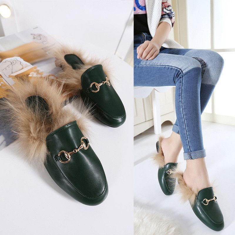 9ee5a540529bb4 Rabbit Fur Leather Slippers Warm Flats Shoes Flip Flop Loafers ...