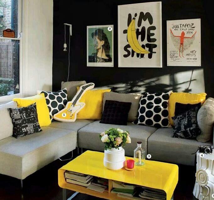 Gelb, Wohnzimmer, Einrichtung, Schwarze Wohnzimmer, Gelbe Zimmerdekoration,  Schwarze Zimmer, Gelbe Akzente Setzen, Lila Grau, Wohnzimmerentwürfe