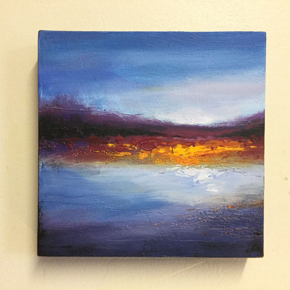 Abstract landscape textured acrylic painting 8x8 box for Textured acrylic abstract paintings