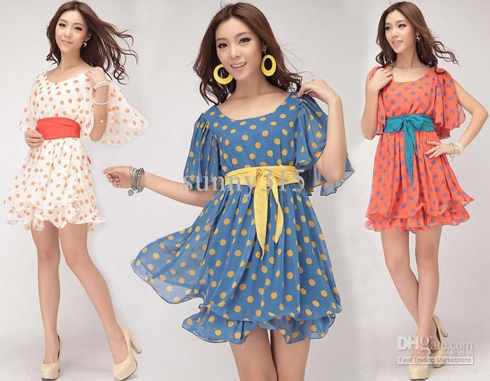 Summer Dresses New Fashion 2015 Women Polka Dot Chiffon Dress ...