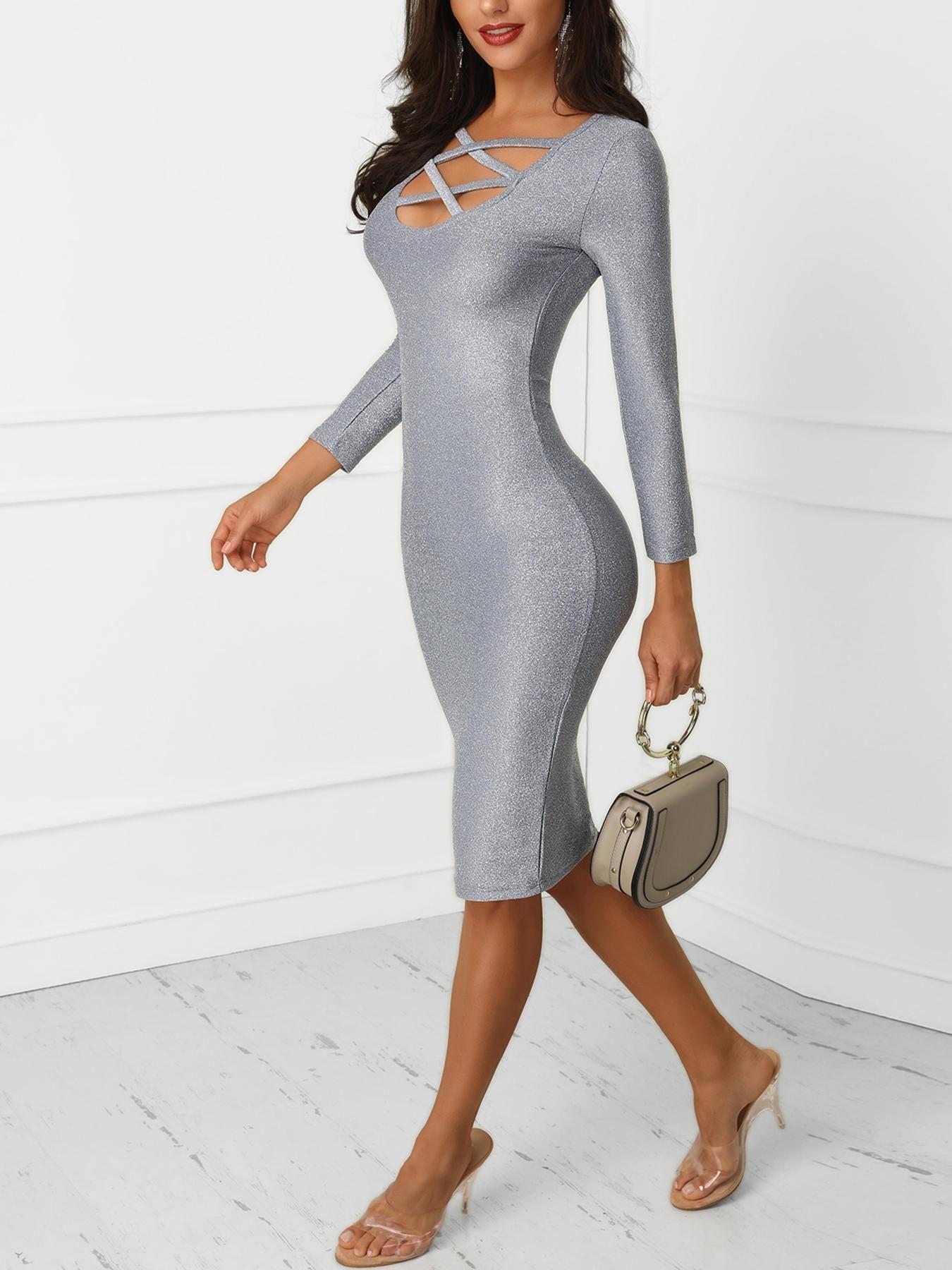 Glittering Caged Neck Party Dress  Kleider für frauen, Frauen outfits